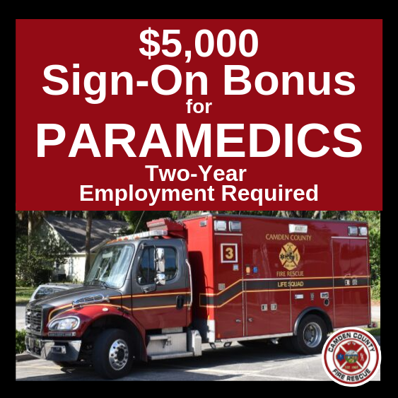 "Image of ambulance with ""$5,000 Sign-On Bonus for Paramedics Two Year Employment Required"""