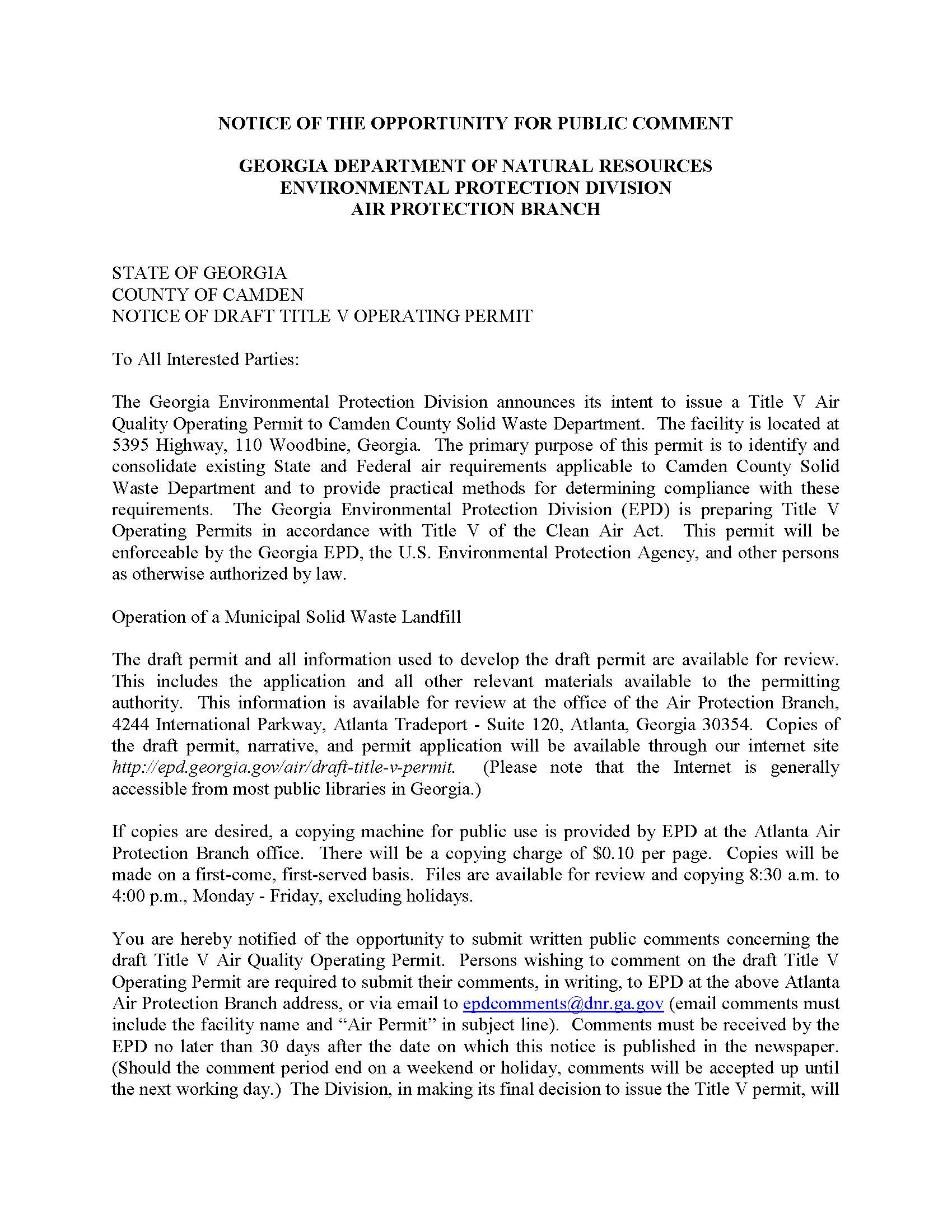 Notice - Title V Air Quality Public Comment