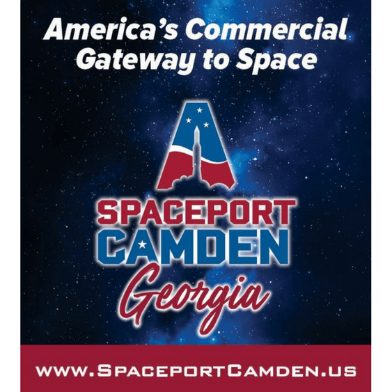 Outer Space background with a Red, White, and Blue Spaceport Camden Logo in the foreground