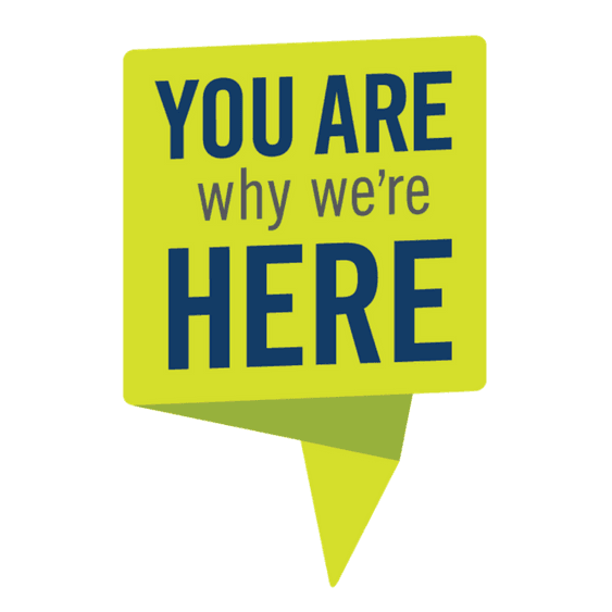Yellow You Are Why We're Here Logo