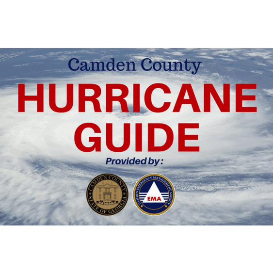 "Satellite Image of a Hurricane with ""Camden County Hurricane Guide"""