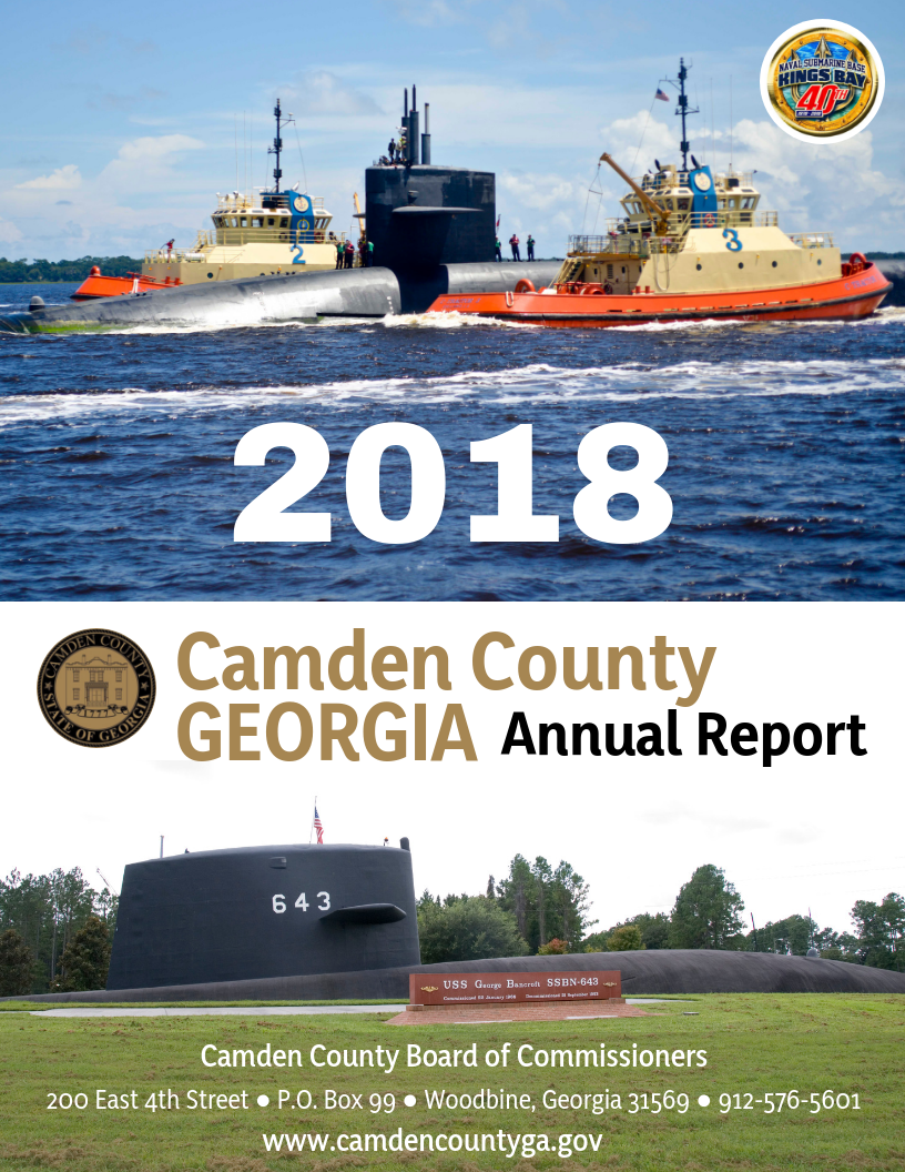 2018 Annual Report Cover showing submarine from Naval Submarine Base Kings Bay