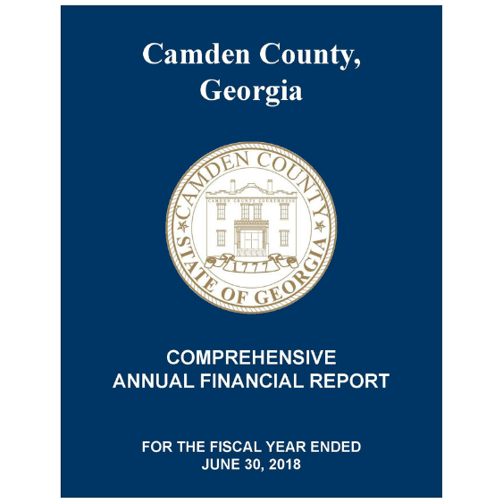 "Blue Background with ""2018 Comprehensive Annual Financial Report"""