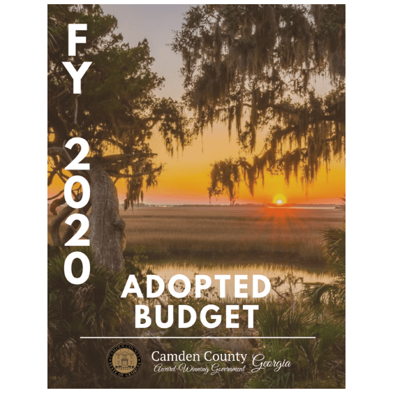 "Image of sunset over water with ""FY 2020 Adopted Budget"""