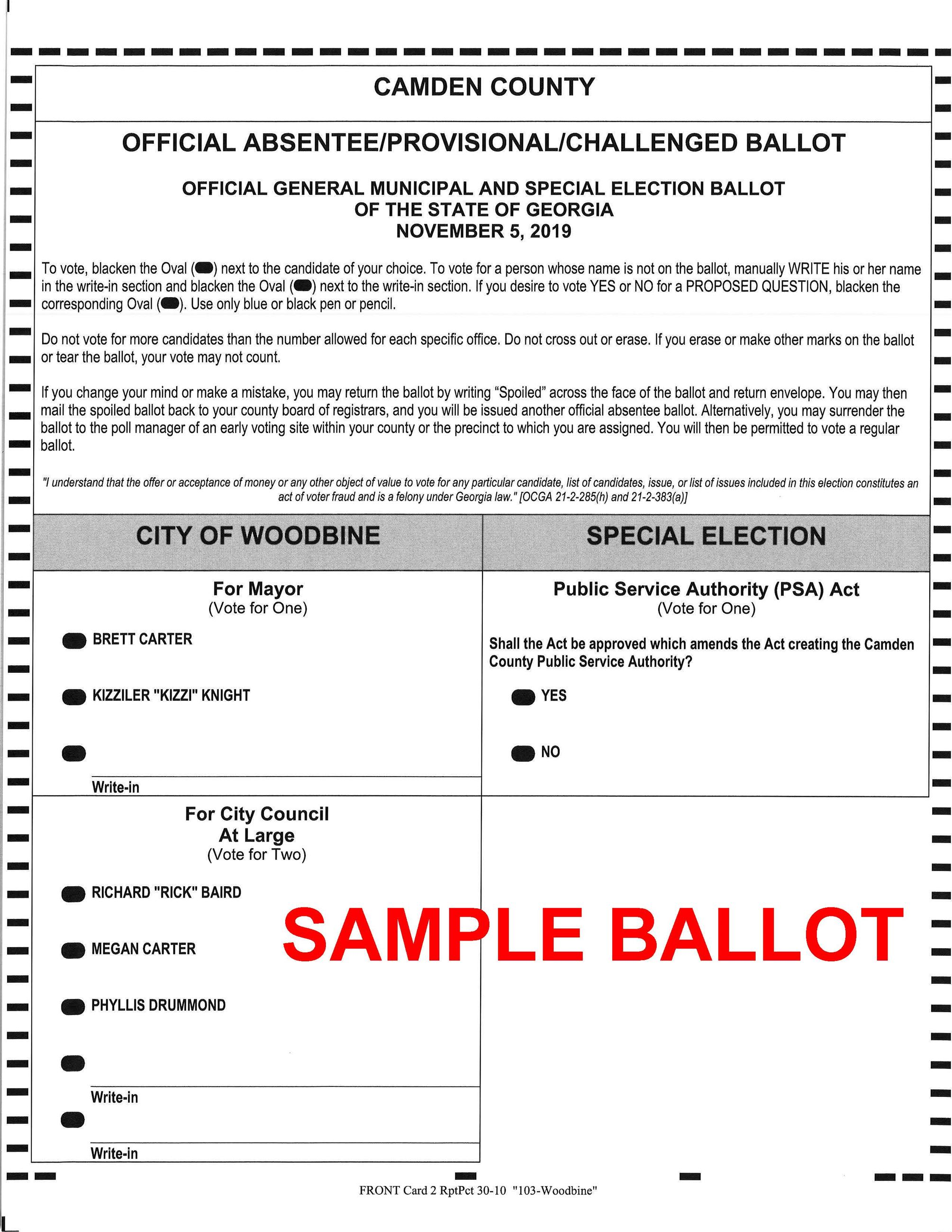 11 05 2019 City of Woodbine SAMPLE Ballot Opens in new window