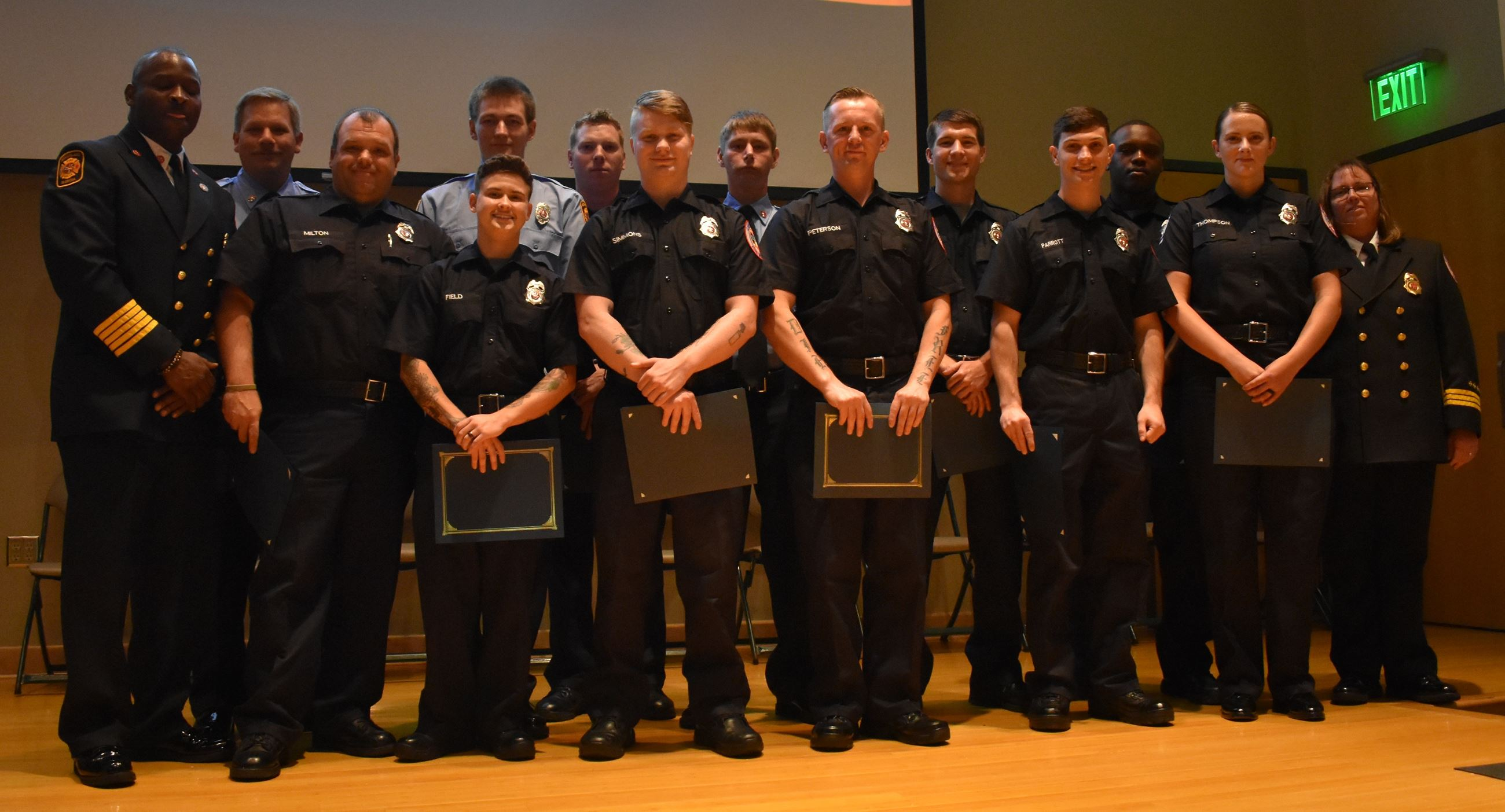 Firefighter Recruit Graduates and Camden County Fire Rescue Leadership