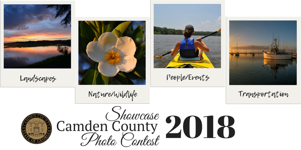 Images of Camden County waterways and flowers displayed as Polaroid-style pictures